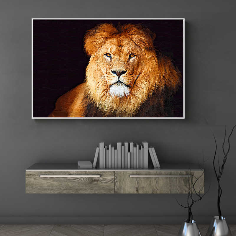 Lion Leopard Animals Simple Print Poster Art Canvas Painting Home Decor Chic Wall Picture Ornament Living Room Coffee Shop Mural