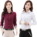 5xl 6xl Plus Size New Fashion Office Lady White Shirt 2015 Korean Casual Design Top Noble Charm Women Formal Blouse Gray Black