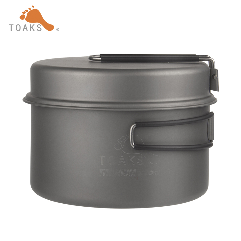 TOAKS Outdoor Camping Titanium Cookware Pan pot set with Folded handle Ultralight Portable for Backpacking picnic CKW 1350