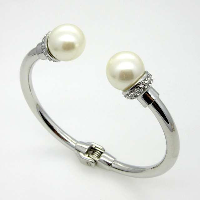 2015 Hot Sell! Fashion Women Jewelry Crystal With Pearl Bracelet Zinc Alloy Cuff Bangles White Gold Plated Bracelet Women