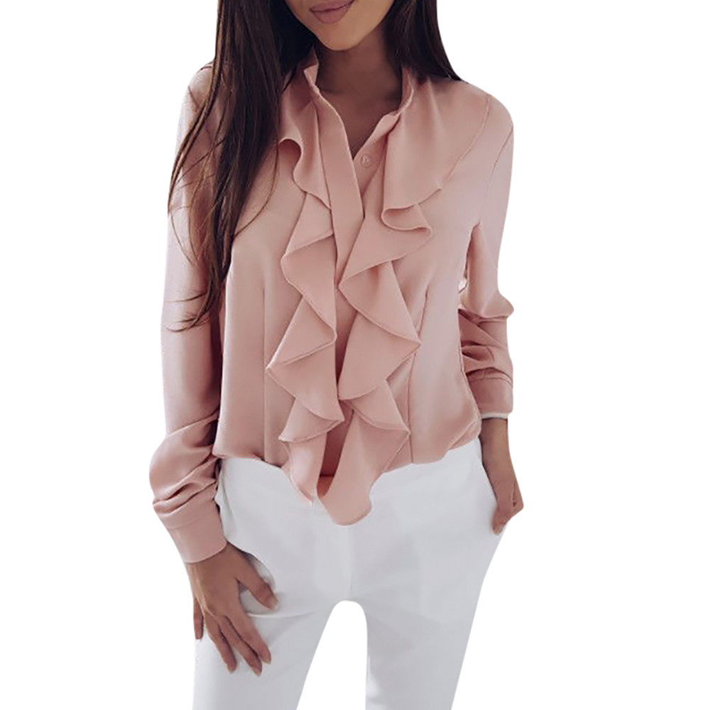 OL Blouse Office V-Neck Front Womens Shirt Casual Tops Ladies Long Sleeve Ruffle