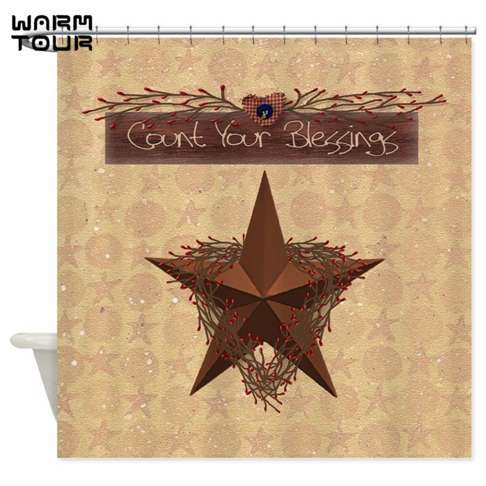 Primitive curtains wholesale - Warm Tour Primitive Star Decorative Fabric Shower Curtains Polyester Waterproof Bathroom Curtain Wtc090 China