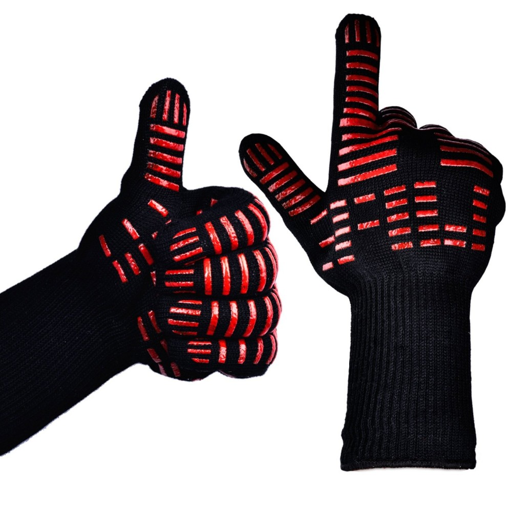 LINGCHEN BBQ red Silicone Short gloves grilling bbq gloves Heat resistant gloves 932F