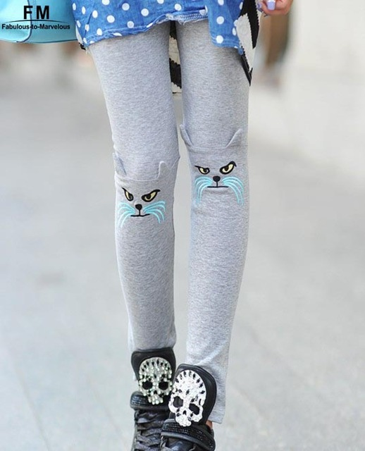 High Waisted Slim Leggings For Women Slim Cotton Capris Autumn-Summer New 2014 Girl's Pants With Embroidery Cat Pattern AW13P002