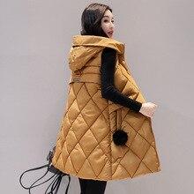 Осенне-зимний женский жилет, новинка, модная женская куртка без рукавов с капюшоном, теплый длинный жилет из хлопка для женщин размера плюс