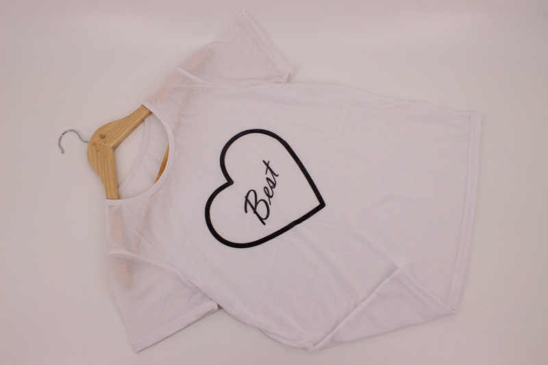 058b1733b ... Harajuku Street Round Neck Best Friends Forever Heart Print T Shirts  Fashion Sleeve Shirt Female Top ...
