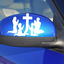 Removable Wall Decor Family Praying at the Cross Religion Car Window Stickers Art Curved Body Bumper Sticker Room WallPaper Y-87 все цены