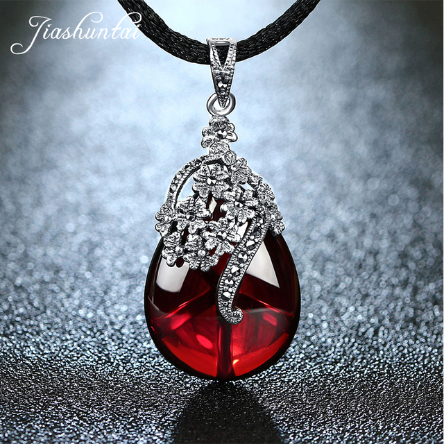 JIASHUNTAI Retro 925 Silver Sterling Royal Natural  Red Garnet Gemstone Chalcedony Pendant Necklace Jewelry For Women Vintage