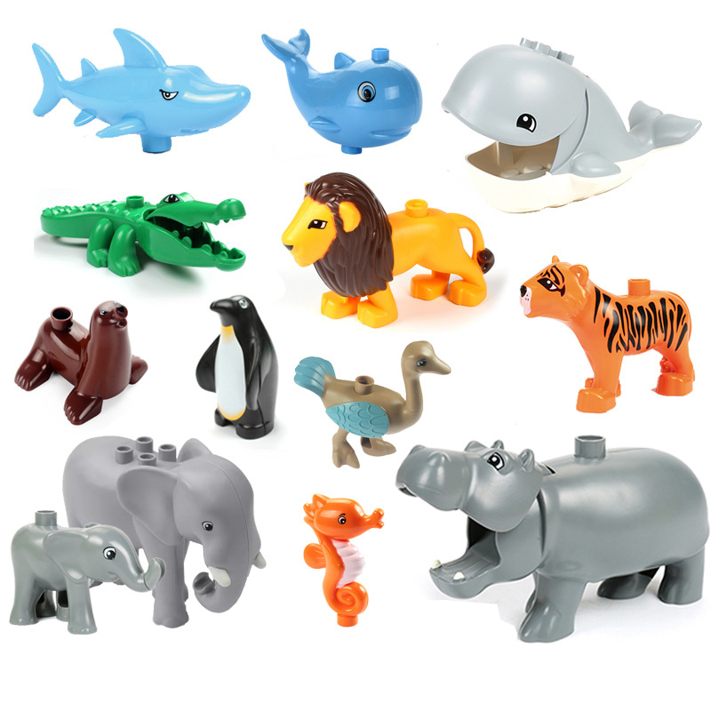 Big Building Block Ocean Animal Model Figures Sets Lion Dolphin Hippo Kids Educational Toys Compatible Brand Toy Gift For Kids