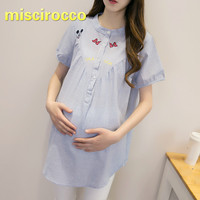 Maternity Clothes Summer Shirt 4XL Pregnant Women's Summer Short Sleeve Striped Shirts Plus Size Women Clothing Embroidery