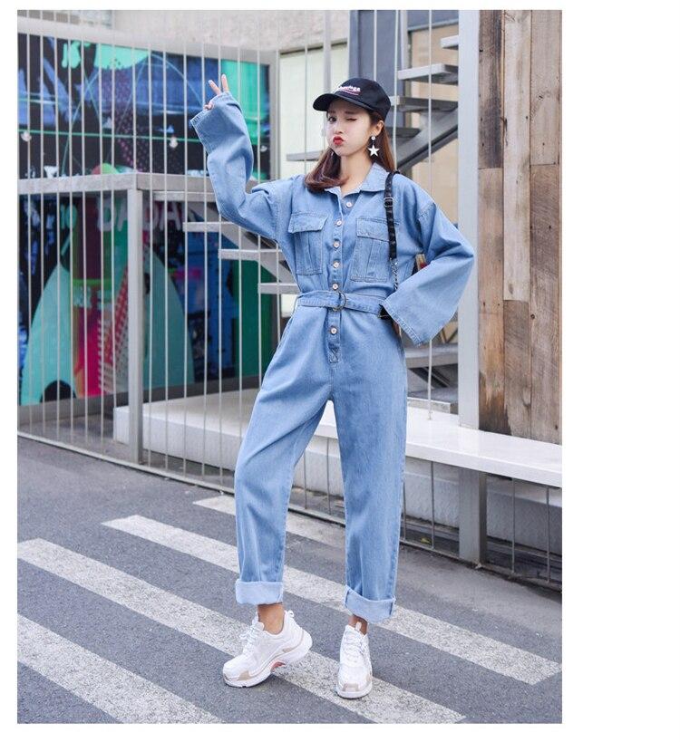 a41a625ab2a 2019 Fashion Streetwear Style Denim Overalls Women 2018 Autumn Long ...