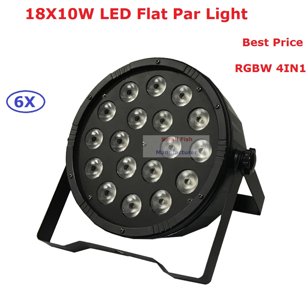 6xLot 18X10W 4in1 RGBW Quad Color Led Flat Par Light Total 90-100W DJ Disco  LED Stage Lights For Party Wedding Nightclubs 2pcs dj disco par led 54x3w stage light dmx strobe flat luces discoteca party lights laser rgbw luz de projector lumiere control