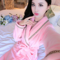 Ms. autumn and winter flannel nightgown leisure solid color coral fleece bathrobe bathrobe tracksuit