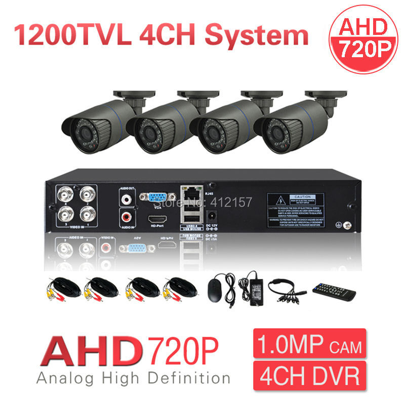 Home CCTV AHD 720P 1200TVL 4CH Security Camera System HDMI DVR IR Outdoor Waterproof Color Video Surveillance KIT P2P MobileView  security cctv outdoor waterrpoof 1200tvl ahd 720p camera system 4ch hdmi hybrid dvr home video surveillance kit p2p mobile view