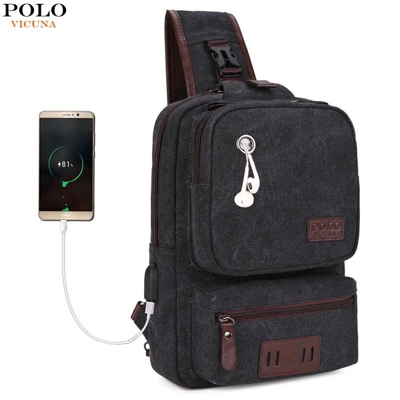 VICUNA POLO New Arrivals USB Design Large Capacity Mens Chest bag Casual Bag Men Canvas Messenger bags Patchwork Men's Handbag pamaskin 2018 new arrivals casual retro men messenger bags 100