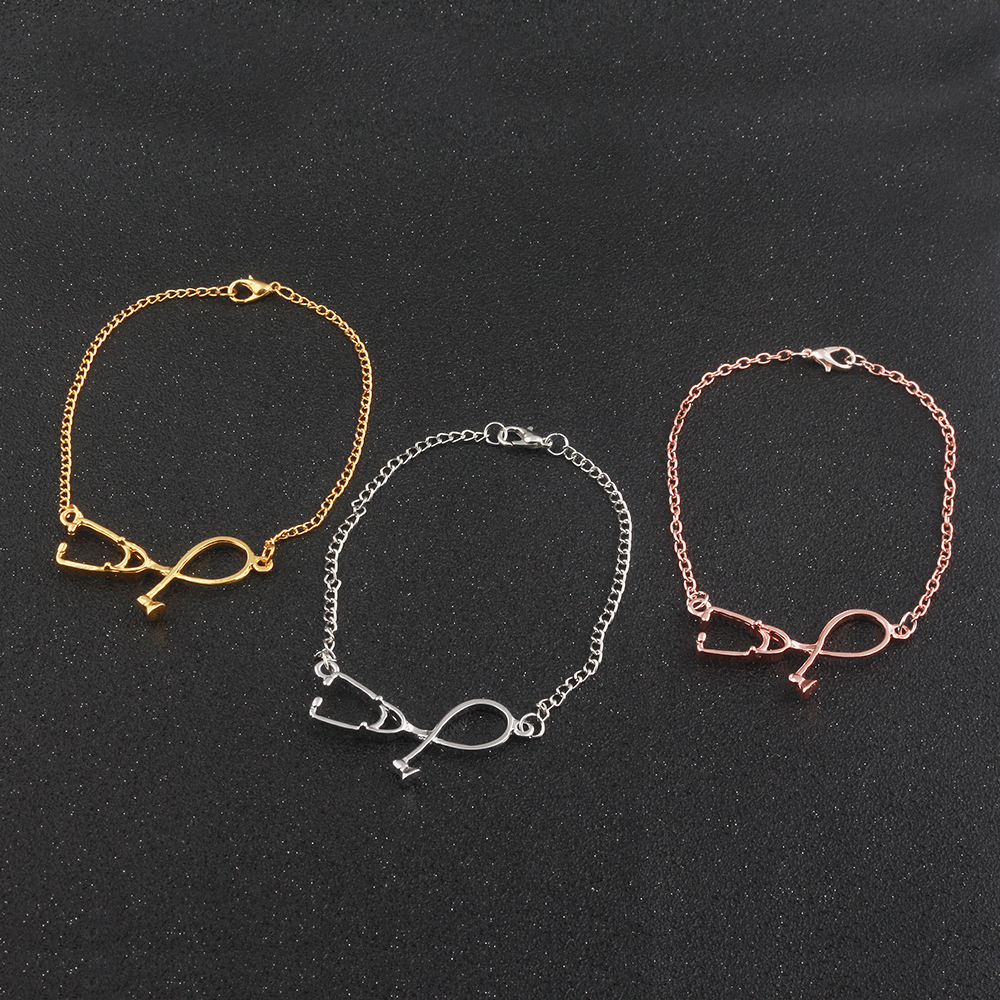 SG Newest Fashion Nurse Medical Charms Bracelets Jewelry 3 Colors Rose Gold/Gold/Silver Stethoscope Lariat Heart Ladies Bangles
