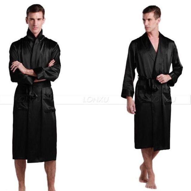 Мужская Шелковый Атлас Пижамы Пижамы пижамы Халат Халаты Халат Ночная Рубашка Loungewear USS, M, L, XL, 2XL, 3XL Плюс _ _ 5 Цветов