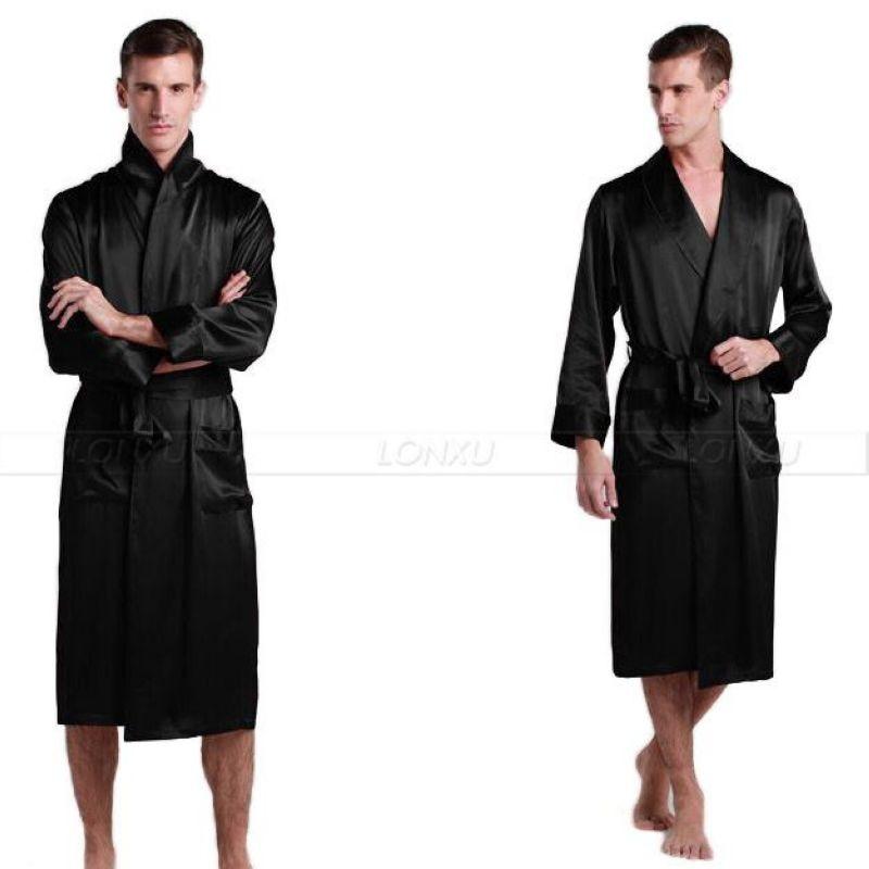 Mens Silk Satin Pajamas Pajama Pyjamas Robe Robes Bathrobe