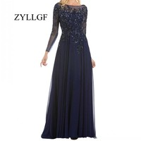 ZYLLGF Navy Blue Mother Of The Bride Dresses Sheath Boat Neck Long Sleeves Dress For Mother With Beadings MFD3