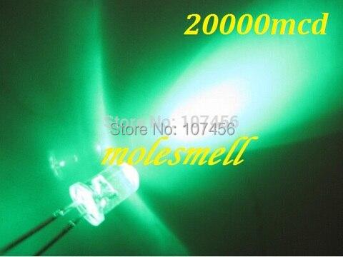 Frete Grátis Ultra Brilhante Led Verde Água Clara Redonda 20000mcd 1000 Pçs 5mm