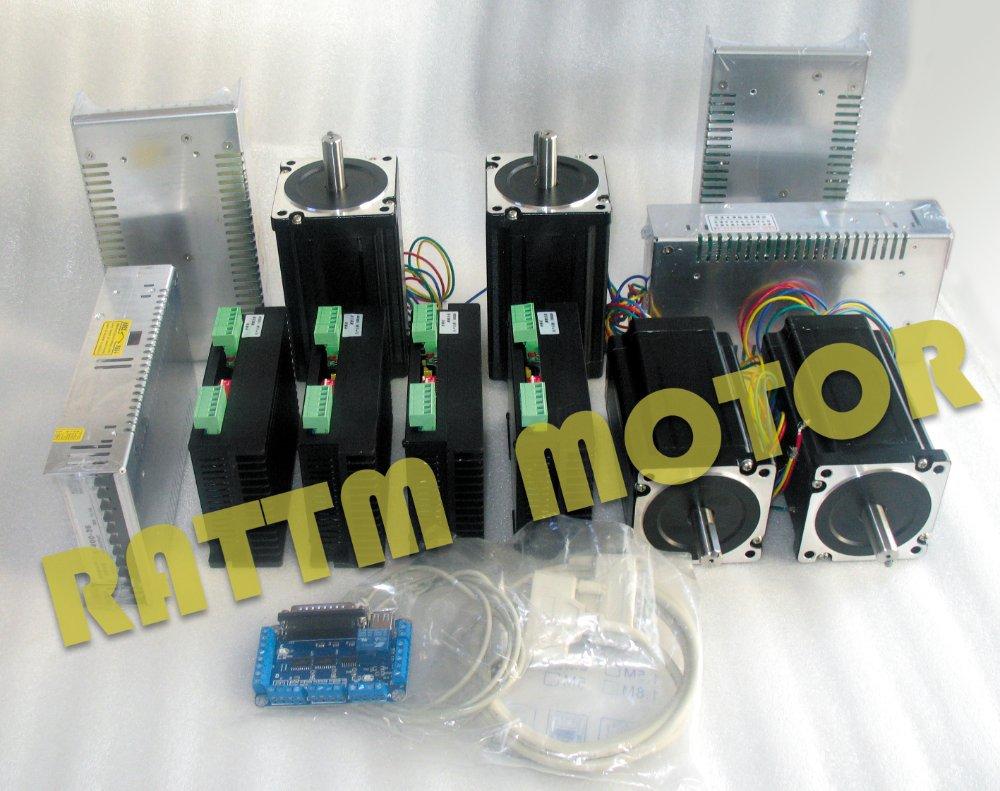 High-quality!! 4Axis Nema34 CNC Stepper Motor 98mm/ 878oz-in /4.0A & Driver 6A/80VDC 256 Microstep cw8060 stepper motor driver 80vdc 6a 256 microstep for cnc router for nema23 34 stepper motor