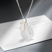 KOFSAC Elegant 925 Silver Necklaces Women Jewelry Crystal Water Droplets Cherry Blossoms Necklace Lady Anniversary Accessories
