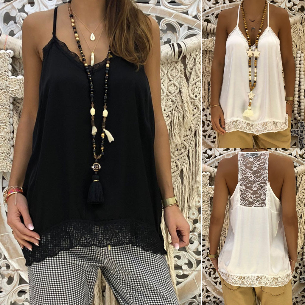 Casual Women Solid Sexy Lace Vest   Tops   Fashion Patchwork Insert Shirt V-Neck Sling Loose   Tank     Tops   Blouse 2019 New Arrival