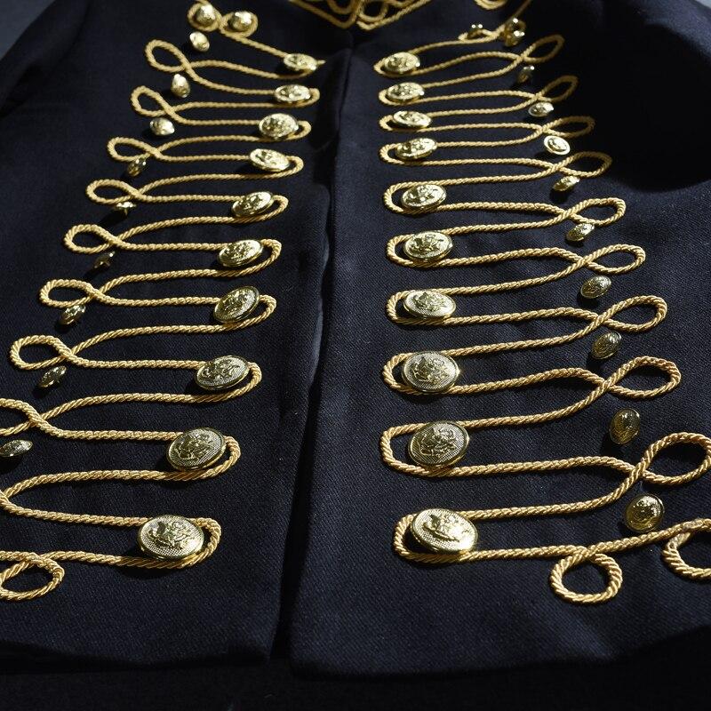 Discothèque De Broderie Hôte Veste Manteau Tenues Mince Spectacle Danseur Chanteur Performance Bar Noir Mâle Scène Costume Partie Punk 08vwNmn