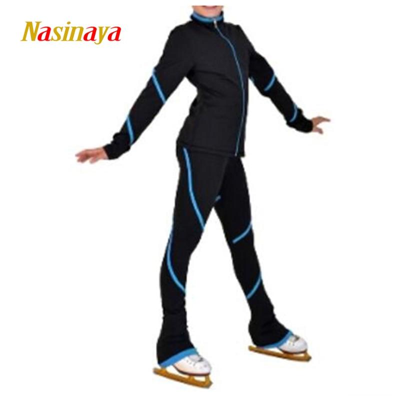 Costumes de patinage artistique sur mesure veste et pantalon Long pantalon pour fille femmes formation Patinaje patinage sur glace gymnastique chaude 23