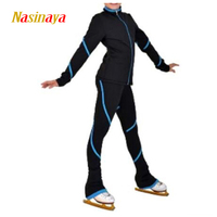 Customized Figure Skating Suits Jacket and Pants Long Trousers for Girl Women Training Patinaje Ice Skating Warm Gymnastics 23