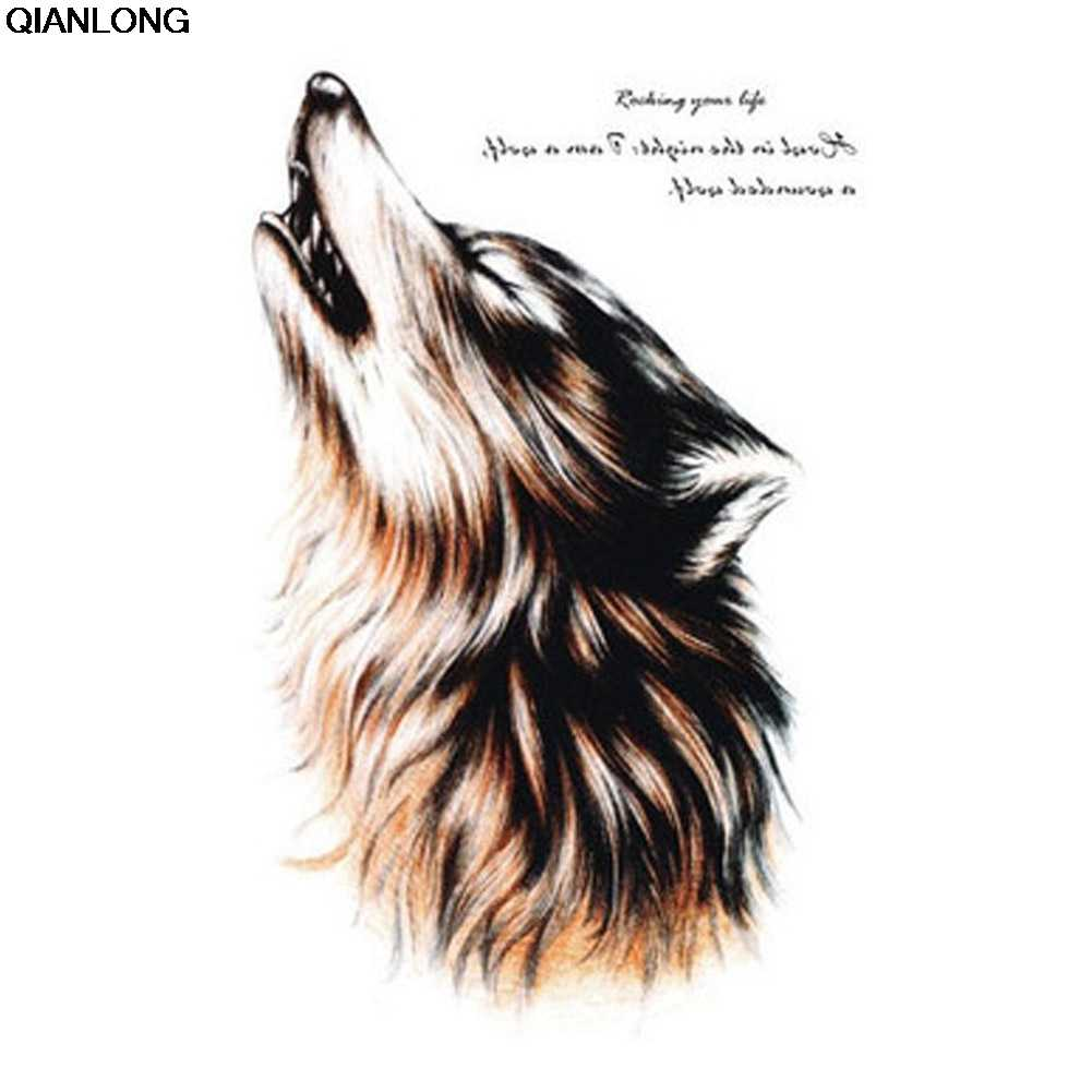 70c6c07a4b8aa waterproof temporary tattoos for men and women Wolf roar design large arm tattoo  sticker Free Shipping