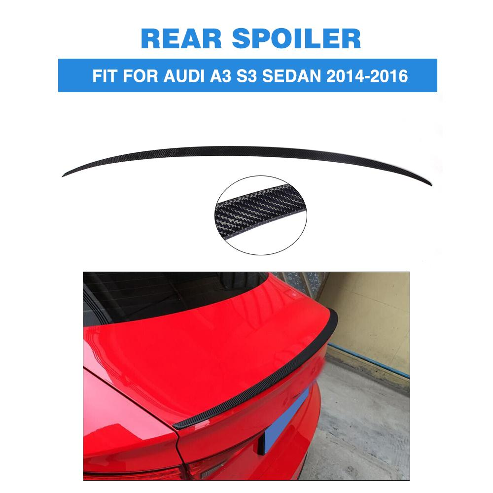 Carbon Fiber Car Rear Trunk Spoiler for Audi A3 S3 4 door 2014-2016 Auto Rear Wing Tuning Parts Car Styling woobest abs rear wing rear trunk rear spoiler for toyota corolla altis 2014 2017 new design top quality