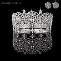 Large noble  full circle crown pageant miss world rhinestone round full tiara crown with earring matching in various color