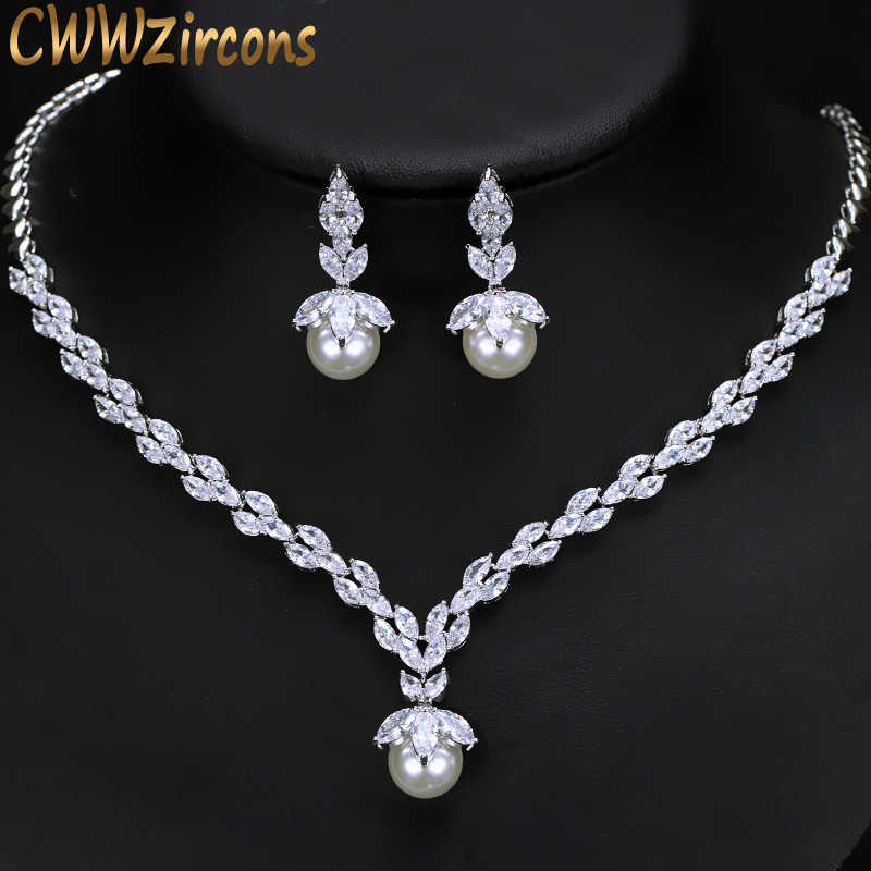 CWWZircons Gorgeous Cubic Zirconia Bridal Pearl Necklace Earrings Sets For Women Wedding Party Costume Jewelry Gift T092