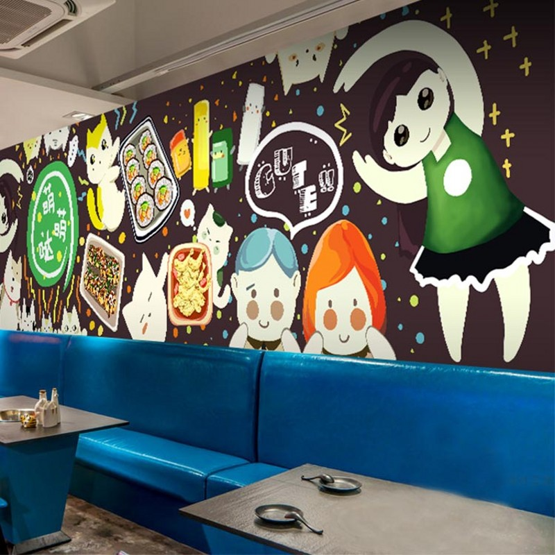 Us 1146 30 Offphoto Wallpaper Cartoon Graffiti Background Wallpaper Mural Personalized Food Noodle Store Sushi Cuisine Hot Pot Shop Wallpaper In