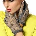 2017 Hot Sale Medival Lolita Women Lace Genuine Leather Gloves Unlined Nappa Lambskin Wrist Sunscreen Glove Free Shipping L095N