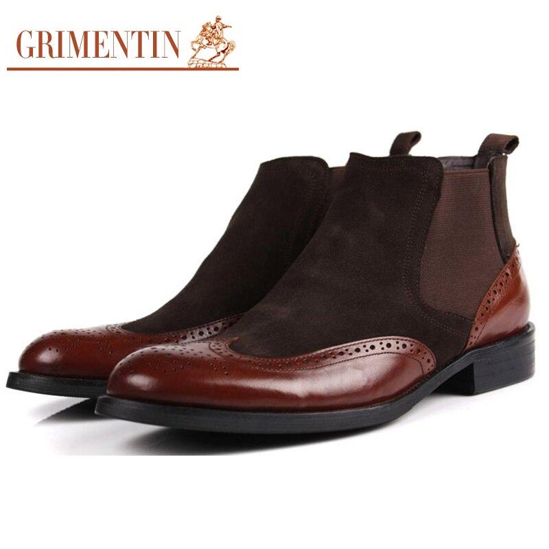 Mode Hommes Martin Bottes Véritable Cheville de Chaussures En Cuir Hommes Chaussons Cowboy Bottes décontractée Chaussures SnXnQVFY