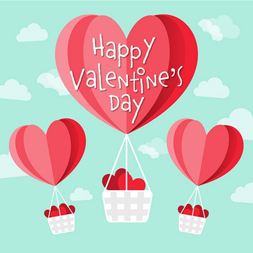 Green White Cloud 3D Red Heart Hot Air Balloon Valentines Day Backgrounds Vinyl cloth Computer printed wall photo backdrop