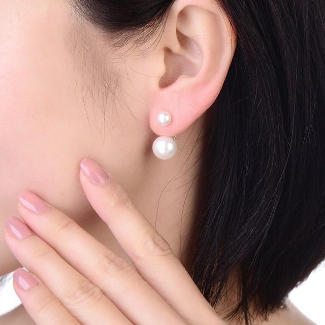 Real Natural Double Pearl Earrings 925 Sterling Silver Earrings Jewelry,Black Freshwater Pearl Earrings Wedding Girl Best Gift