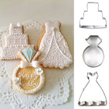 1pcs patisserie reposteria Wedding Metal Cookie Cutters Fondant Cake Decor Tools Cupcake Chocolate Biscuit Mould Ring Dress DIY(China)