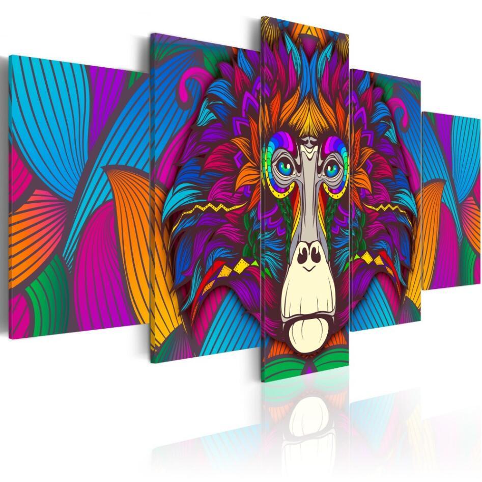 5 pièces, plein carré 5D bricolage diamant peinture abstraite singe diamant broderie mosaïque point de croix strass Y2752