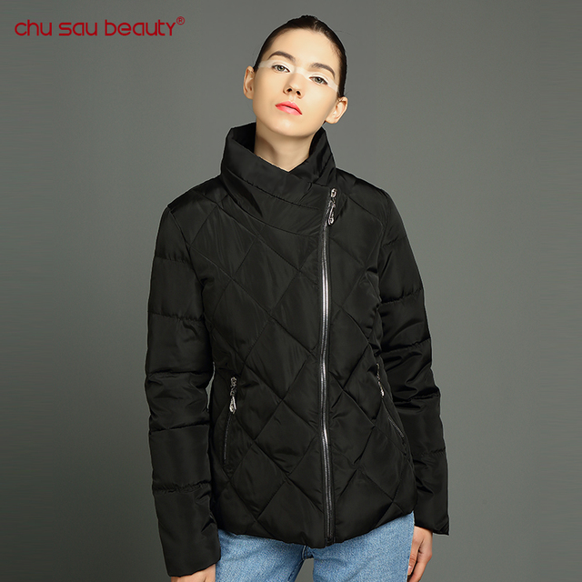 2019 new fashion women's parkas warm winter female jackets zipper stand collar ladies overcoats solid black