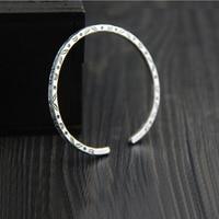handmade 999 sterling silver solide bangles 3mm width bracelets children's style retro silver opening carved bracelets
