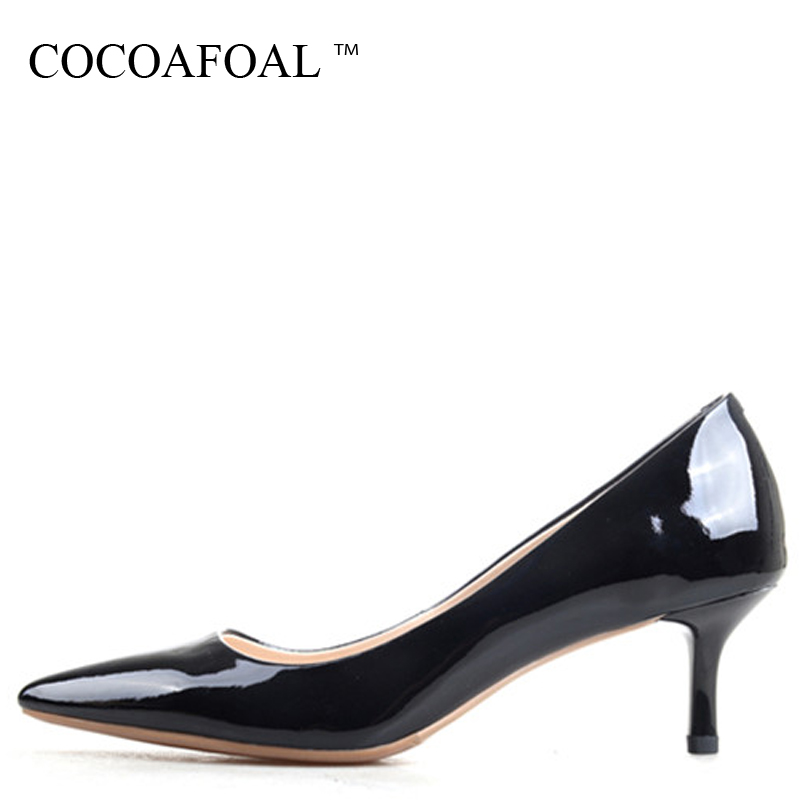 COCOAFOAL Woman Genuine Leather Low Heel Shoes Black Plus Size 33 43 Sexy  Pointed Toe Pumps b714566a0780