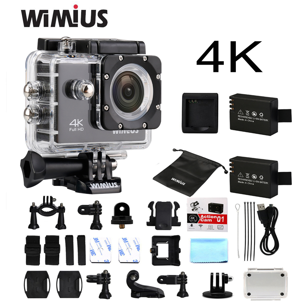 Wimius 4K WiFi Sports Action Camera Mini Full HD 1080P 60fps Cam Video Outdoor Helmet Camara Go 40M Diving Waterproof Pro DVR DV original drift stealth 2 action camera motorcycle bike go bicycle pro helmet sport dv camera wifi mini camcorder smart moto dvr