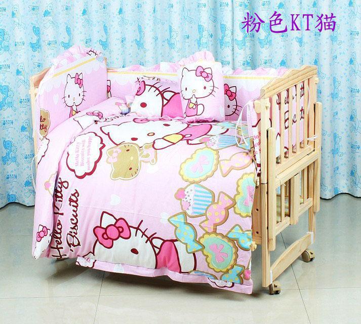 7PCS 100*60/110*65cm Cartoon baby cotton Applique crib bedding set for boys baby bumper  ...