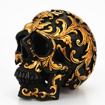 Resin Craft Black Skull Head Golden Carving Halloween Party Decoration Skull Sculpture Ornaments Home Decoration Accessories 1