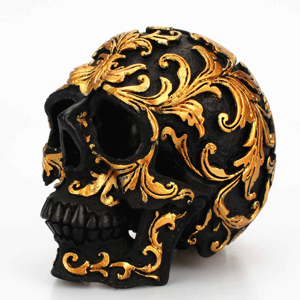 Mestiere della resina Nero della Testa Del Cranio Dorato Intagliare Decorazione Del Partito di Halloween Del Cranio Scultura Ornamenti Decorazione Della Casa Accessori