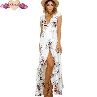 2017 Floral Print Chiffon Split Long Dress Women Beach Summer V Neck Kimono Sexy Sundress Eleagnt