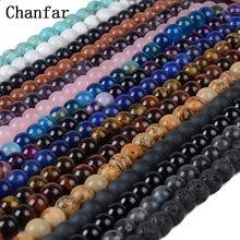 Chanfar 4 6 8 10mm Natural Stone Beads Black Lava Tiger Eye Bulk Loose Stone Beads For DIY Making Bracelet Necklace Jewelry